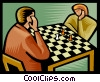Vector Clip Art graphic  of a playing chess