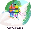 winter sports, downhill skiing, chair lift Vector Clip Art graphic