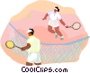 playing tennis Vector Clip Art graphic