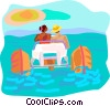 water sports, paddleboat Vector Clip Art picture