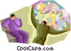 Vector Clip Art image  of a salesman pitching company's capabilities