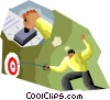 fencer hitting the target for stamping the deal Vector Clip Art picture