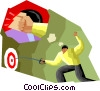 Vector Clip Art graphic  of a fencer hitting the target