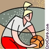 Vector Clip Art graphic  of a Basketball player dribbling