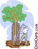 Vector Clip Art graphic  of a protecting a tree