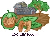 Vector Clipart picture  of a walnut farming
