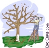 Vector Clip Art image  of a pruning a tree