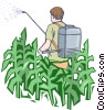 Vector Clip Art image  of a fertilizing a crop