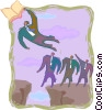 Vector Clip Art graphic  of a flying above the crowd