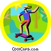 Vector Clip Art image  of a skateboarding