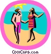 Vector Clip Art image  of a day at the beach