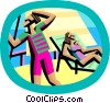 Vector Clipart illustration  of a relaxing on a cruise ship
