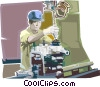 Vector Clip Art image  of a machinist
