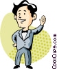 man waving Vector Clipart picture
