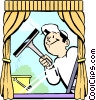 Vector Clipart illustration  of a window cleaner