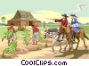 Vector Clipart graphic  of a early colonialists