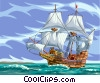 Vector Clipart picture  of a Tall ship