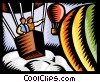 Vector Clip Art graphic  of a People in hot air balloons