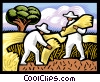 Vector Clipart graphic  of a Farm workers