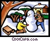 Vector Clip Art picture  of a making a snowman