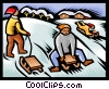 tobogganing, winter sports Vector Clipart illustration