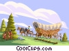 Horse covered wagon country old-west Vector Clipart picture