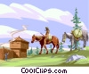 Horse fort donkey country old-west Vector Clip Art graphic