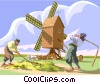 workers windmill Holland farming Vector Clipart illustration