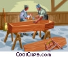 Vector Clip Art image  of a coffin makers