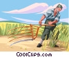 Vector Clip Art image  of a Farm workers farming hay