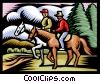 Men on horseback Vector Clip Art graphic