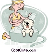 girl bathing dog Vector Clip Art graphic