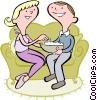 Vector Clip Art picture  of a Couple eating popcorn
