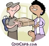 Vector Clipart graphic  of a mother receiving package