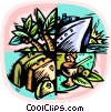 Vector Clip Art graphic  of a Cruise ship with palm trees