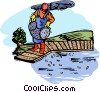 fishing on a dock Vector Clipart illustration