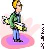 man holding plans Vector Clipart graphic