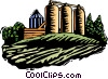 Vector Clip Art image  of a farm silos