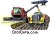 Vector Clip Art image  of a harvesting a crop