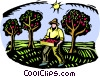 Vector Clipart image  of a fruit harvesting