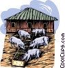 Vector Clipart illustration  of a pigs at a trough; farming