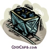 Vector Clip Art graphic  of a mining cart