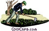 Vector Clip Art graphic  of a working in a field