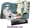 Vector Clip Art picture  of a man working in lab