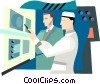 men working in lab Vector Clipart picture