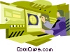 Vector Clipart picture  of a person at switchboard