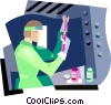 Vector Clip Art image  of a Woman working in lab