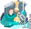 Vector Clip Art graphic  of a man working in lab