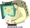 man working in lab Vector Clipart picture