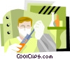 Vector Clipart graphic  of a man working in lab